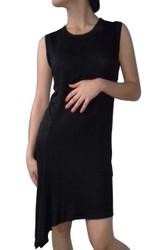 Sleeveless Black Dress with Asymmetrical Cut is 97% Rayon!