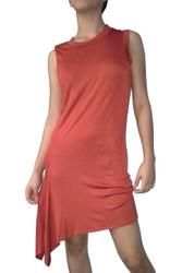 Sleeveless Orange Dress with Asymmetrical Cut is 97% Rayon!