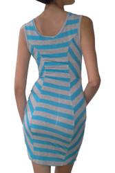 Sleeveless Bodycon Dress is Aqua Blue & Heather Grey!