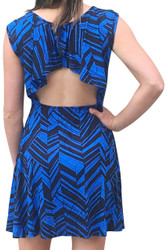 Sleeveless Blue / Black Dress with Geo Chevrons is 100% Rayon!