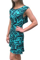Sleeveless Mint / Black Dress with Geo Chevrons is 100% Rayon!