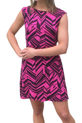 Sleeveless Fuchsia / Black Dress with Geo Chevrons is 100% Rayon!