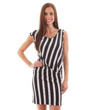 Black & White Vertical Striped Sleeveless Dress!