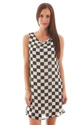 Black & White Checkered Print Sleeveless Dress!