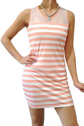 Striped Dress with Sheer Mesh Upper and Open Back! Red.