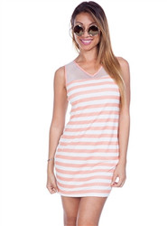 Striped Dress with Sheer Mesh Upper and Open Back! Apricot.