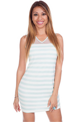 Striped Dress with Sheer Mesh Upper and Open Back! Mint.