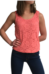 Coral Pink Lace Tank Top with Lining! Boho-Chic Summer!