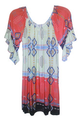 BOHO-CHIC Tunic Top/Dress in Tribal Pattern with Coral Shoulders!
