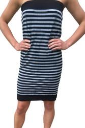 One-Size, Seamless Dress with Optional Spaghetti Straps! Black & Heather Grey Stripes.