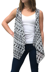 Flyaway' Cardigan with Black & White Aztec Print and Solid Back!