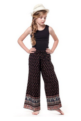 KIDS / GIRLS 100% RAYON PALAZZO / GAUCHO PANTS from CHELSEA! Black with Paisley.