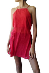 Halter Style Spaghetti Dress with High Cut! Red.