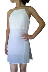 Halter Style Spaghetti Dress with High Cut! White.