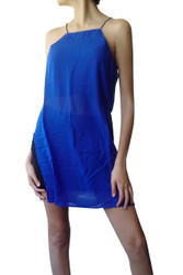 Halter Style Spaghetti Dress with High Cut! Blue.