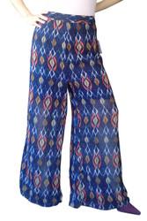 PLUS SIZE. Wide Leg Palazzo / Gaucho Pants make a serious fashion statement! Blue with Aztec Print.