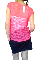 Red Short Sleeve Top with Lace Back & Lace Pocket!