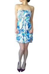 100% Rayon Strapless Dress in Teal & White Paisley Print!