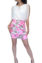Classic Cut Dress with Keyhole Cutout . White with Pink Floral.