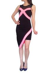 Black & Fuchsia Dress. Asymmetrical Cut and Sheer Neckline.