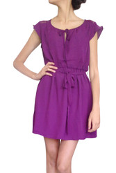 Plum Purple Dress. Keyhole Cutout and Fabric Belt.
