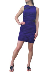 Sleeveless Bodycon Dress is Deep Purple with Sheer Black Accents!