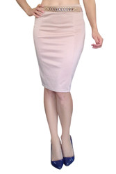 Classic & Classy Khaki Stretch Pencil skirt with Gold Jewelry Belt!