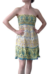 100% Cotton Strapless Summer Sundress! Summer Colors: Yellow & Green.