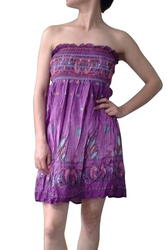 100% Cotton Strapless Summer Sundress! Purple.