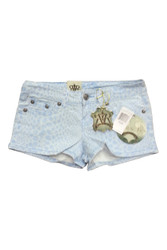 Cotton Stretch Jean Shorts with $40 Tags! Aqua Turquoise Blue with Animal Print.