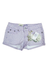 Cotton Stretch Jean Shorts with $40 Tags! Lavender Purple with Animal Print.