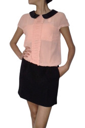 Peach & Black Dress with Black 'Leather' Peter Pan Collar & Keyhole Back!