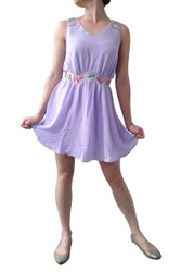 Lilac Classic Summer Dress with Boho-Chic Beaded Accents!