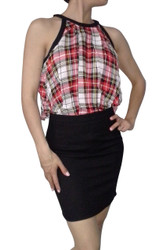 Red Plaid Halter Style Dress with Black Bodycon Skirt!
