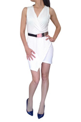 Crisp White Asymmetrical Cut Dress with Gold Jewelry Belt!