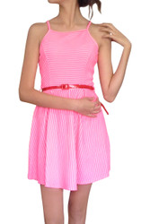 Striped Pink & White High Cut Dress with Belt!
