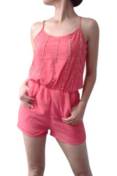ROMPER / JUMPER in Red Coral. Spaghetti Straps, Pockets, and Stones on Chest.