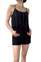ROMPER / JUMPER in Solid Black. Spaghetti Straps, Pockets, and Stones on Chest.