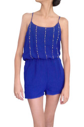 ROMPER / JUMPER in Solid Blue. Spaghetti Straps, Pockets, and Stones on Chest.