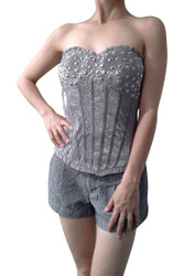 Silver Bustier / Corset with Stones & Zipper!
