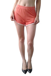 100% Rayon SI STYLE Shorts Trimmed with Mini Pom Poms! Coral.