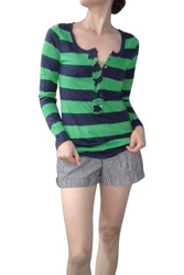 MAJOR BRAND COTTON & RAYON TOP WITH RUFFLE AND BUTTONS! GREEN/BLUE STRIPES.  OLD NAVY (Tags are Crossed Out).