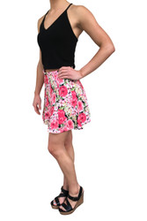 Pink / White Floral Skirt with Zipper Back!