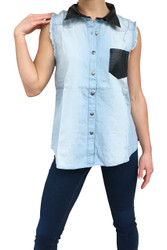 100% Cotton Sleeveless Denim Top with Leather Collar & Chest Pocket!