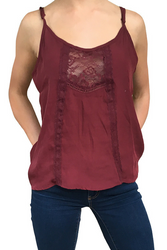 Lightweight Spaghetti Strap Top with Lace Accent Chest from Major Name Brand!