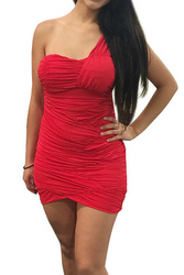 One Shoulder Cranberry Red Bodycon Dress.
