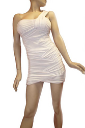 One Shoulder Summer White Bodycon Dress.