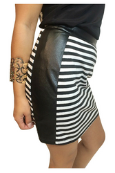 Black & White Striped Bodycon Pencil Skirt with Faux Leather Panels!