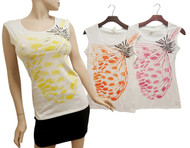 Butterfly with Stones! 90% Ultra Smooth Cotton. White with Orange Print.