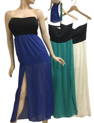 Strapless Dress with Solid Black Upper, and White Chiffon Lower.